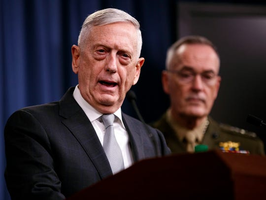 Defense Secretary Jim Mattis, joined by Joint Chiefs Chairman Gen. Joseph Dunford, speaks at the Pentagon on April 13, 2018, on the U.S. military response, along with France and Britain, in response to Syria's recent chemical weapons attack.