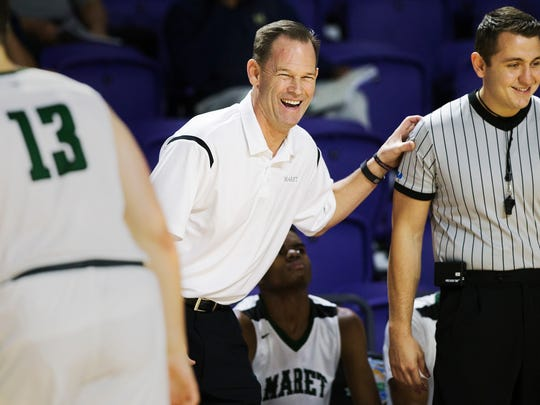 Washington (D.C.)-Maret High School coach Chuck Driesell leads his team against Hudson Cathloic during play Friday (12/16/16) at the Culligan City of Palms Classic at the Suncoast Credit Union Arena in Fort Myers. Hudson beat Maret 65-51.