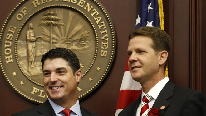 Speaker of the Florida House of Representatives Steve Crisafulli and Senate President Andy Gardiner stand together at the Capitol during the first day of the Legislative Session on Tuesday March 3, 2015.