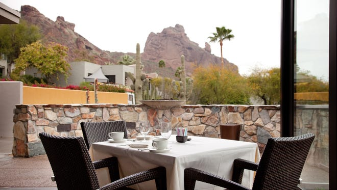 The view of The Praying Monk on Camelback Mountain as seen from Elements at The Sanctuary Resort and Spa in Paradise Valley.