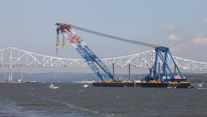 The I Lift NY super crane arrives near the Tappan Zee Bridge, Oct. 6, 2014.  It is going to help in the construction of the New New York Bridge.