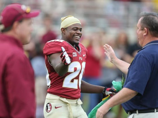 By being named a first-team All-American by three publications, FSU's Lamarcus Joyner has earned NCAA consenus All-American status.  Mike Ewen/Democrat