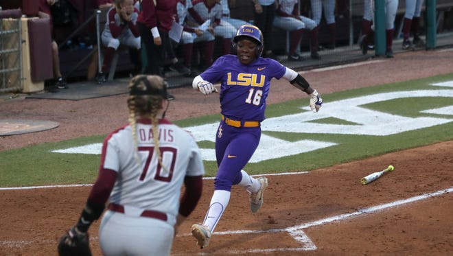 LSU's Taryn Antoine scores against FSU during the Tiger's 6-5 NCAA Super Regional win at JoAnne Graf Field on Friday, May 25, 2018.
