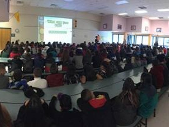 The first Cyber Safety presentation for elementary students was presented to 100 fifth graders at Painted Sky Elementary School in Albuquerque yesterday.
