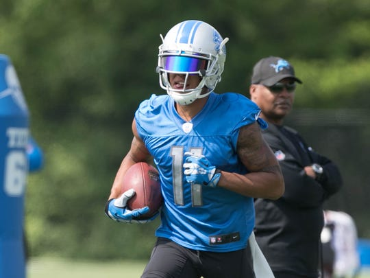 Lions receiver Marvin Jones Jr. takes part in OTAs on Wednesday, May 24, 2017 at the Allen Park practice facility.