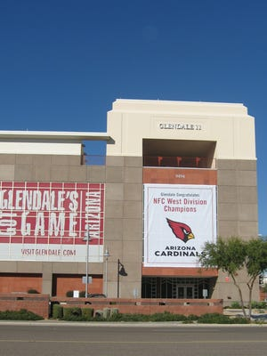 The Glendale media center sits across from the University of Phoenix Stadium. The third floor is a candidate to house Glendale's new library.