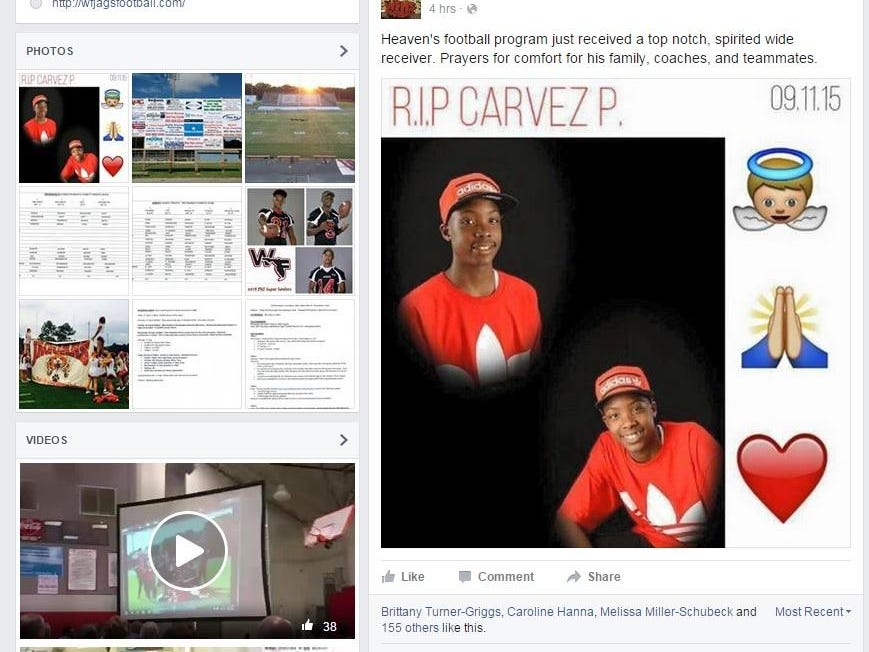 The West Florida High School football Facebook page paid tribute to freshman Carvez Peterson, who was killed in an accident Friday.