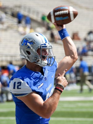 MTSU quarterback Brent Stockstill (12) is now MTSU's all-time leading touchdown passer.