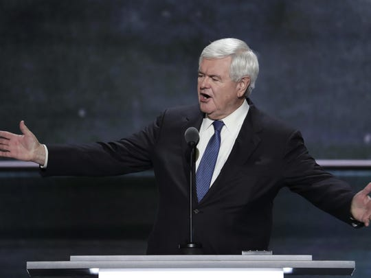Former House Speaker Newt Gingrich speaks during the third day of the Republican National Convention in Cleveland, Wednesday, July 20, 2016.