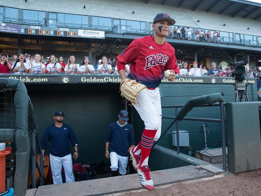 Veterans Memorial's starting pitcher Jo Jo Villareal takes the field to play Forney in the 5A State Baseball Semifinal at Dell Diamond in Round Rock on Thursday, June 7, 2018.