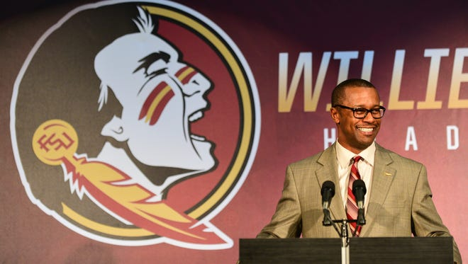 Willie Taggart addresses the audience and media at his first press conference at Doak Campbell Stadium as the 10th head coach of Florida State University.