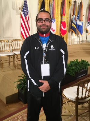 Sal Gonzalez was one of several former soldiers who visited the White House in behalf of the Wounded Warrior program
