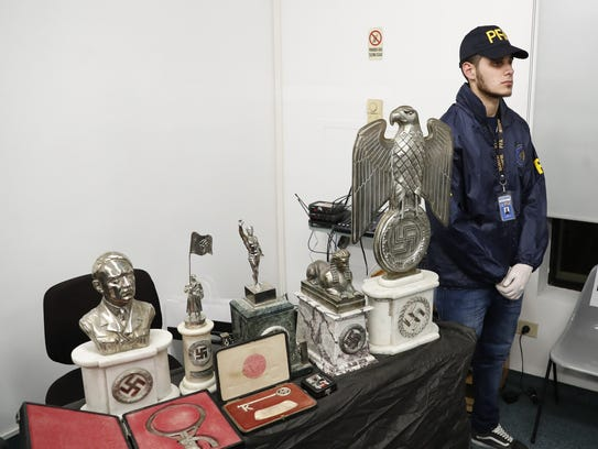 A member of the Argentine Federal Police  stands next