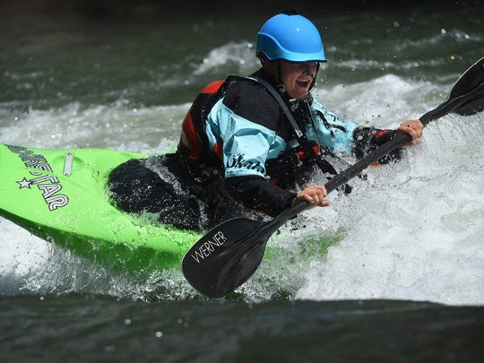 Whitewater kayaker Sage Donnelly trains for the Reno