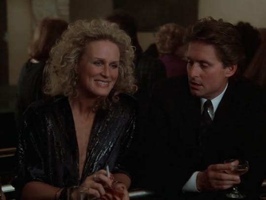 """Glenn Close as 'Alex' and Michael Douglas as 'Dan' in a scene from the 1987 film """"Fatal Attraction."""""""