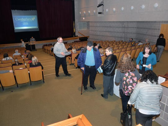 Attendees, including Cumberland County College faculty members, other college staff, current students and alumna as well as members of the community attend the first of three public forum sessions, one for each of the candidates for college president, Monday, Feb. 22 in Vineland.
