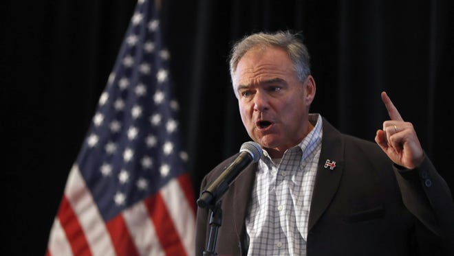 The Democratic vice presidential nominee, Sen. Tim Kaine, D-Va., spoke at a breakfast for the Virginia delegates Wednesday, July 27, 2016, in Philadelphia.