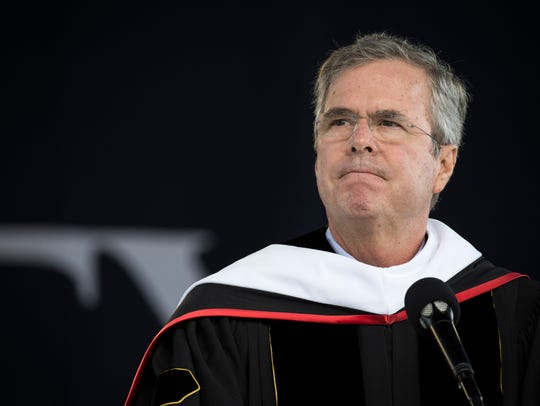Former Florida governor Jeb Bush delivers the commencement