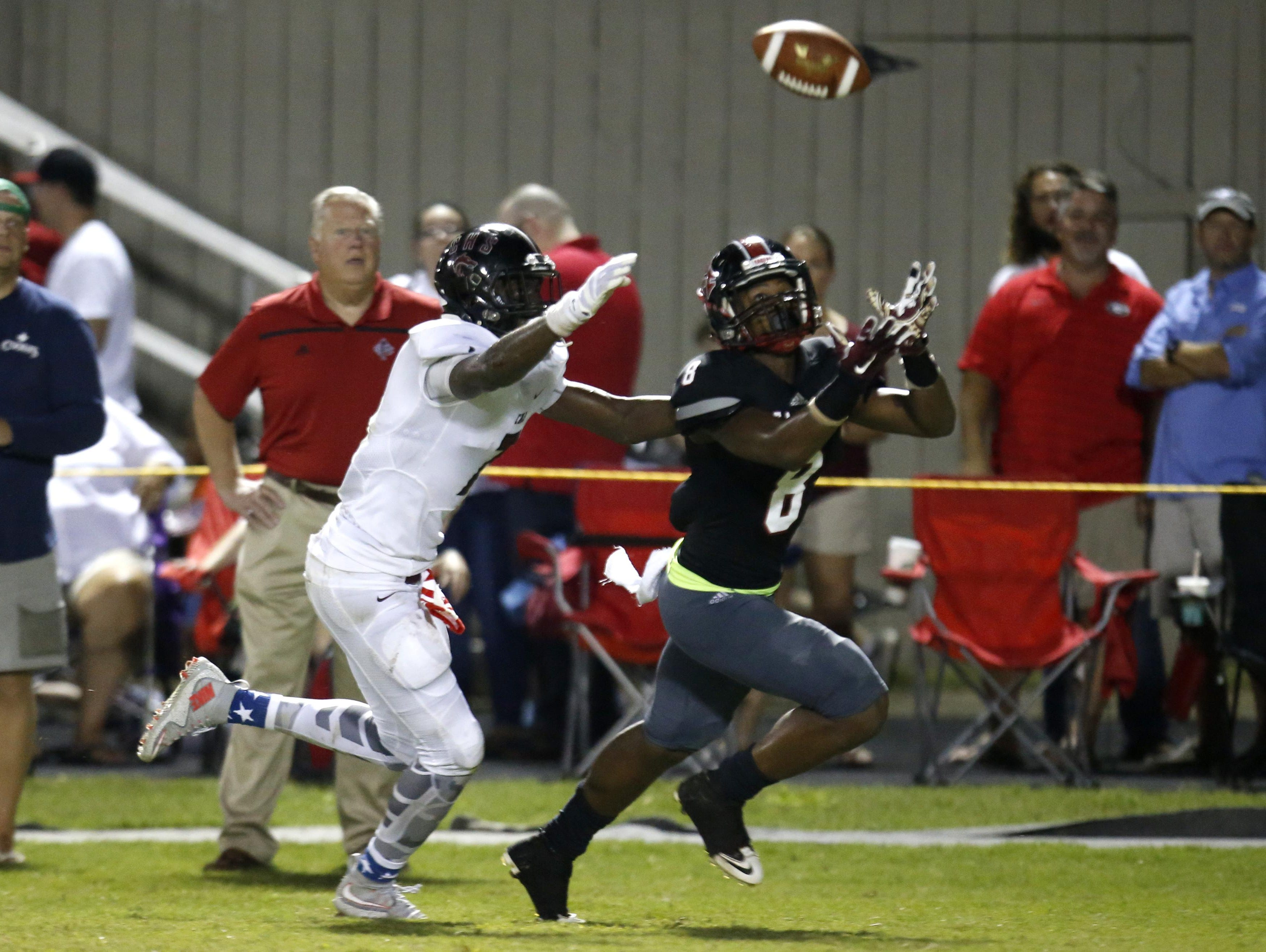 NFC defender Armunz Mathews gets in front of Chiles' wide receiver John Mitchell as they both attempt to make a play on the ball during their game at North Florida Christian on Friday.