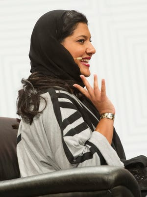 Saudi Arabian Princess Reema Bint Bandar Al-Saud waves to the large crowd as she is introduced during her keynote address at the Austin Convention Center on Saturday, March 14, 2015.