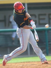 Palm Desert High School's Anthony Boetto makes contact