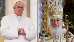 In this file photo combination Russian Orthodox Patriarch