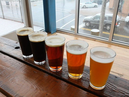 Some of the beers available at the Beach Haus Brewery