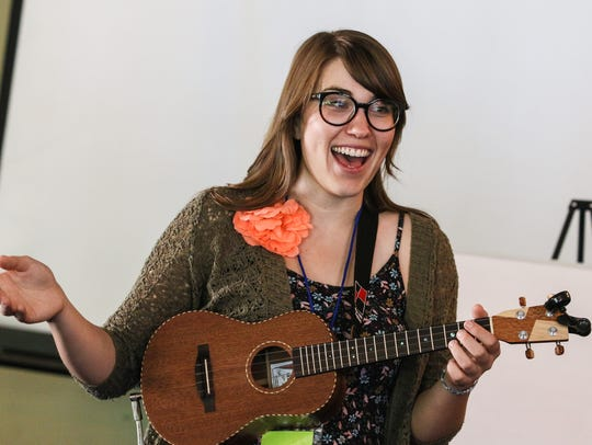 Danielle Anderson, singer-songwriter, teaches a performance