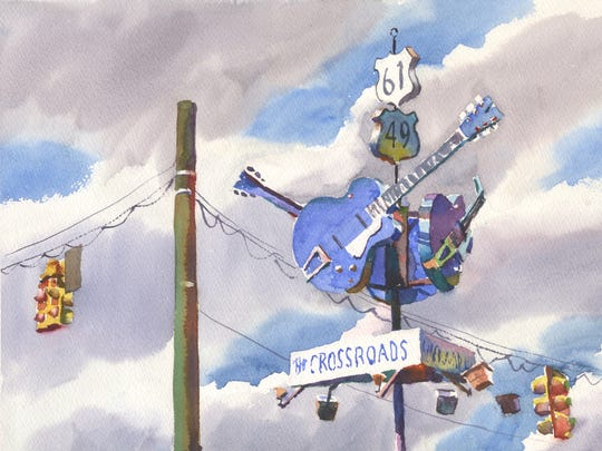 "Watercolorist Wyatt Waters painted this piece, ""Air Guitar,"" while in Clarksdale with restaurateur Robert St. John. The painting is included in their new book, ""A Mississippi Palate."""