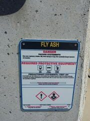 TVA posted signs warning of dangers to lungs from inhaling fly ash in September 2017.
