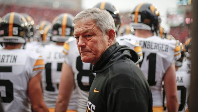 Iowa football head coach Kirk Ferentz watches his team as they make their way onto the field prior to kickoff against Nebraska during their Big 10 final season game on Friday, Nov. 29, 2019, at Memorial Stadium in Lincoln, Neb.