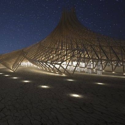 Original 'Man' carpenter, French architect working on 2018 Burning Man Temple together