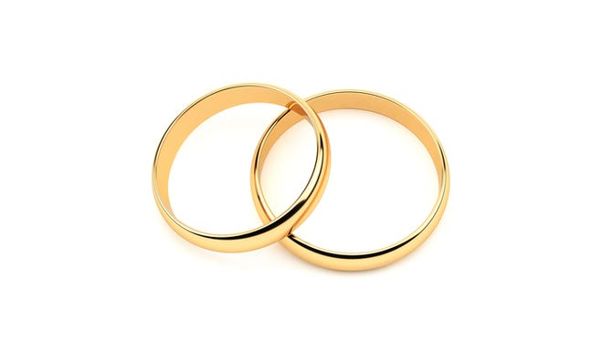 Gold Wedding Rings.On White.With Clipping Path