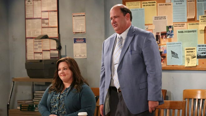 Molly (Melissa McCarthy) looks to her union rep ('The Office's Brian Baumgartner) when she gets in trouble with the school board, on 'Mike & Molly.'