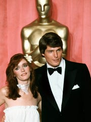 "Margot Kidder, left with ""Superman"" co-star Christopher Reeve, in a 1979 photo."
