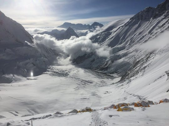 This photo was taken at Lhotse Base, which is Camp Three located at 23,500 feet on Mount Everest in 2016.