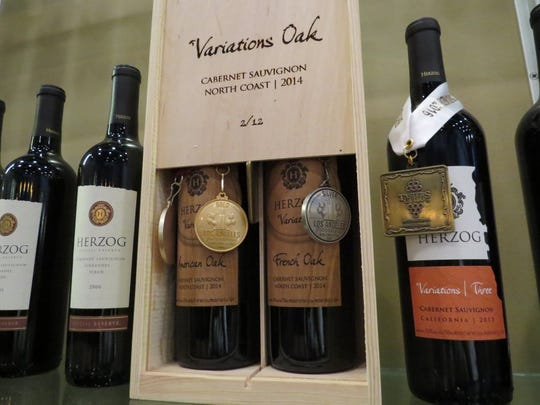 A boxed set of Herzog Wine Cellars' 2014 Variations Oak cabernet sauvignon is seen in the tasting room of the Oxnard winery.