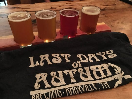 Last Days of Autumn Brewing, at 808 E. Magnolia Ave., features some of Knoxville's most unique beers. From left, Biff's Best IPA, Chamhopnay, Sophie's Fruitstand and Pardon My Garden IPA.