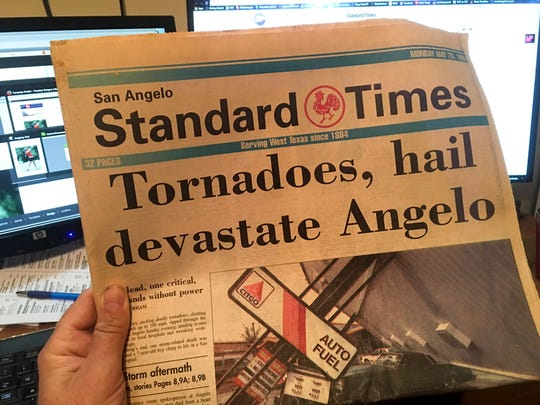 The May 26, 1995 front page of the Standard-Times. - photo by Ken Grimm