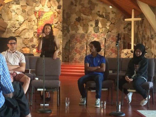 File photo - In May 2016, foreign exchange student Nataly Jomaa, second from left, talks about her experiences in her home country of Palestine and the United States during a panel discussion at Pilgrim Congregational Church in Redding.