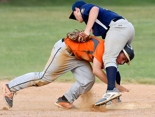 Spring Grove's Buzz Schuchart, right, collides with