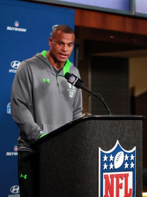 Former Mississippi State quarterback Dak Prescott speaks to the media during the 2016 NFL Scouting Combine at Lucas Oil Stadium on Thursday.