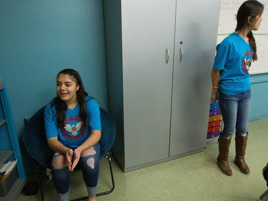 Samara Nuñez, 14, left, and Zarya Martinez, 13, right, are co-presidents of the Zia Middle School Leo's club, the state's first middle school with a division of the Lion's Club. January 30, 2018.