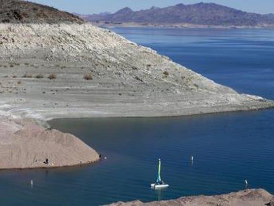 A boat sails into Lake Mead's Boulder Harbor in November