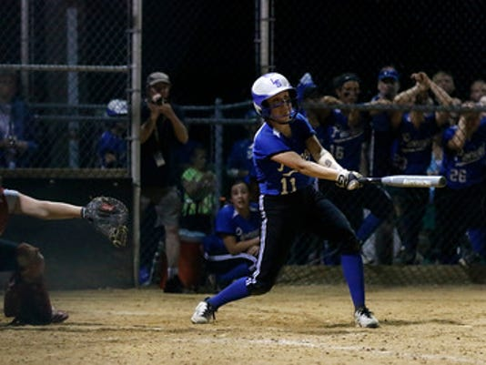 Lampeter Strasburg's Caroline Braungard gets a hit to advances the runner on base into scoring position at Garrett Field in Lampeter Strasburg on Monday, May 11, 2015. Kirk Neidermyer for GameTimePA.com