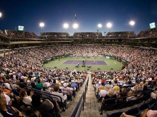 Fans gather in Stadium 1 at the Indian Wells Tennis Garden.