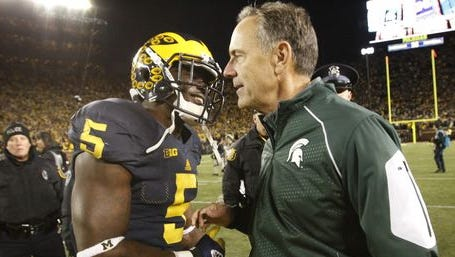 Michigan State coach Mark Dantonio shakes hands with Michigan's Jabrill Peppers after MSU's 27-23 win Oct. 17, 2015 at Michigan Stadium in Ann Arbor.