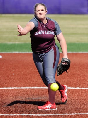 Brownwood pitcher Chyanne Ellett (16) lets a pitch go during the Lady Lions' 4-1 win over Wylie earlier this season.