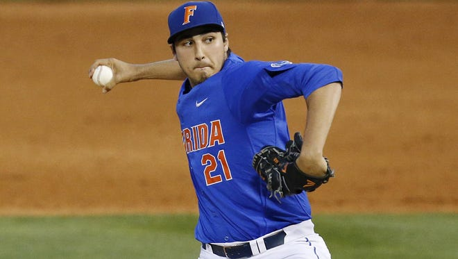 Florida right-hander Alex Faedo was named the Most Outstanding Player at the College World Series.