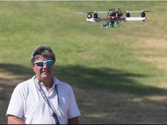 Man flies drone